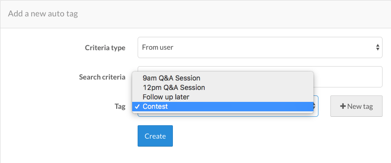 Auto Tag for Q&A sessions or social media contests
