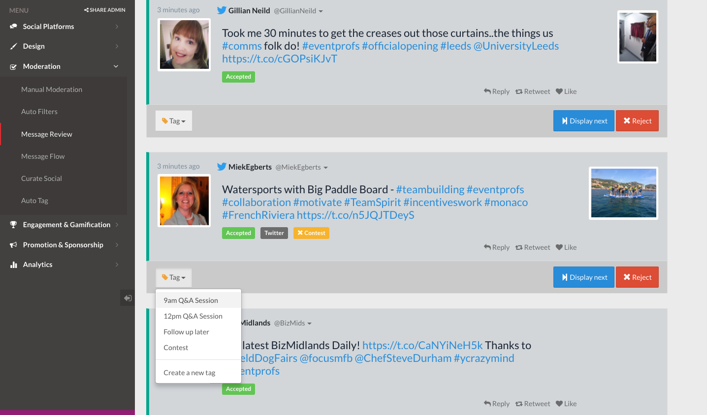 Tagging social messages on social wall